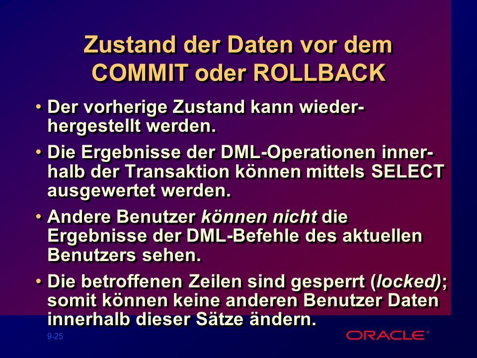 9-25 Zustand der Daten vor dem COMMIT oder ROLLBACK Der vorherige Zustand kann wieder- hergestellt werden.