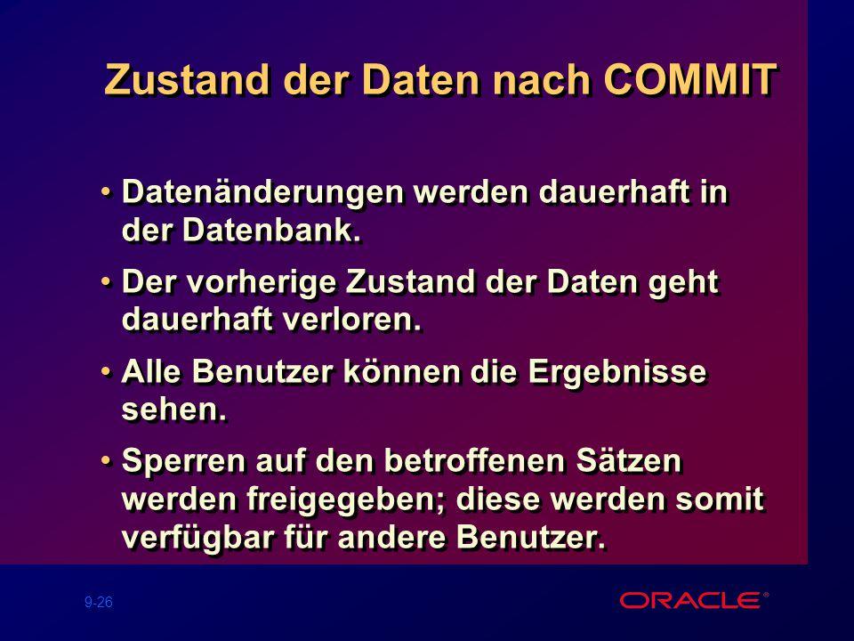 9-26 Zustand der Daten nach COMMIT Datenänderungen werden dauerhaft in der Datenbank.
