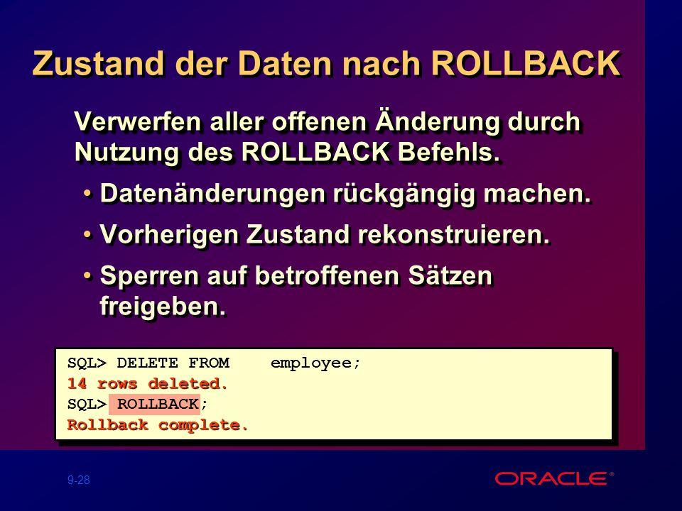 9-28 Zustand der Daten nach ROLLBACK Verwerfen aller offenen Änderung durch Nutzung des ROLLBACK Befehls.
