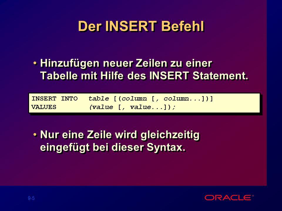 9-5 Der INSERT Befehl Hinzufügen neuer Zeilen zu einer Tabelle mit Hilfe des INSERT Statement.
