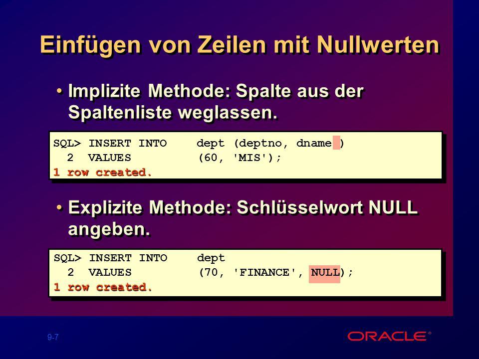 9-7 Einfügen von Zeilen mit Nullwerten Implizite Methode: Spalte aus der Spaltenliste weglassen.