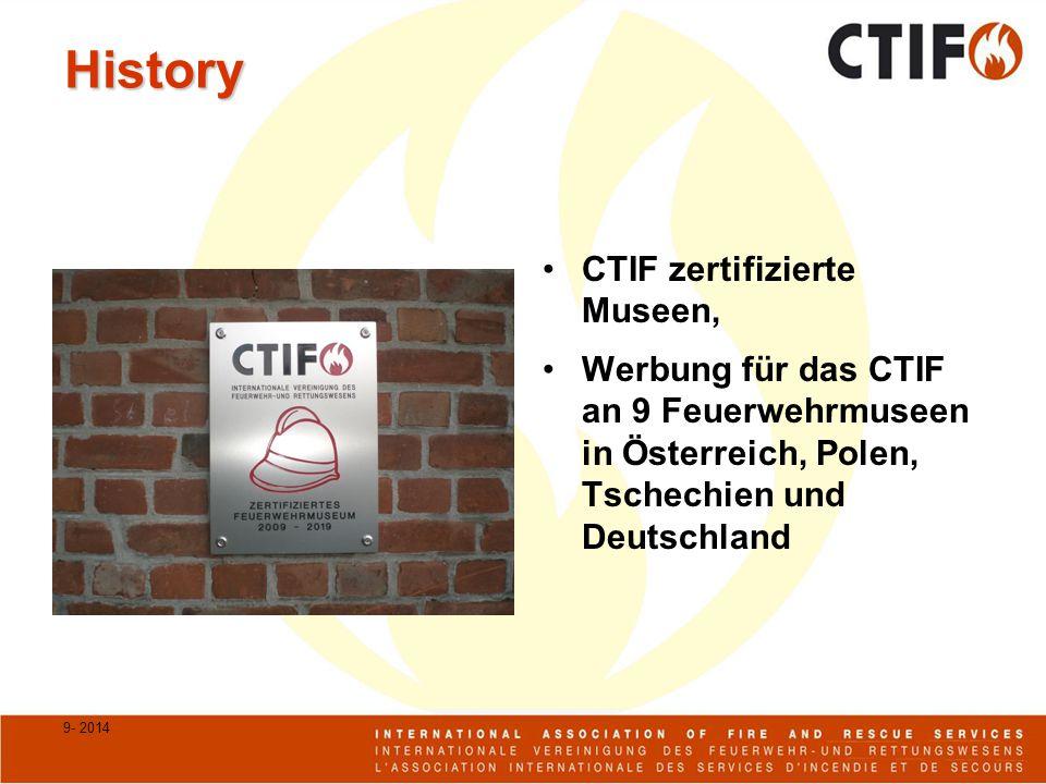 History CTIF zertifizierte Museen, Werbung für das CTIF an 9 Feuerwehrmuseen in Österreich, Polen, Tschechien und Deutschland 9- 2014