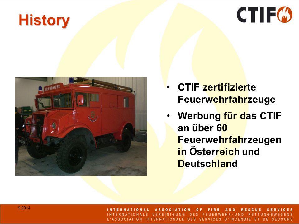History CTIF zertifizierte Feuerwehrfahrzeuge Werbung für das CTIF an über 60 Feuerwehrfahrzeugen in Österreich und Deutschland 9-2014