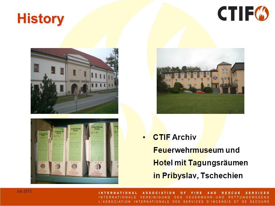 Juli 2013 History CTIF Archiv Feuerwehrmuseum und Hotel mit Tagungsräumen in Pribyslav, Tschechien