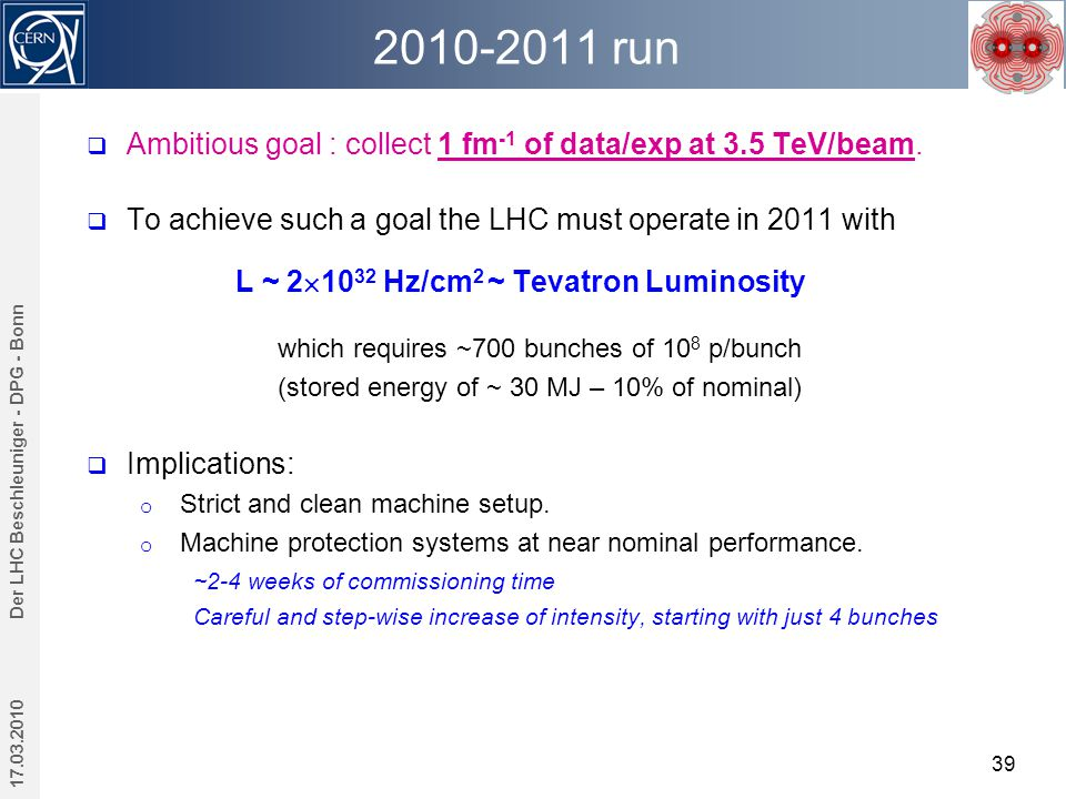 2010-2011 run 17.03.2010 Der LHC Beschleuniger - DPG - Bonn 39  Ambitious goal : collect 1 fm -1 of data/exp at 3.5 TeV/beam.