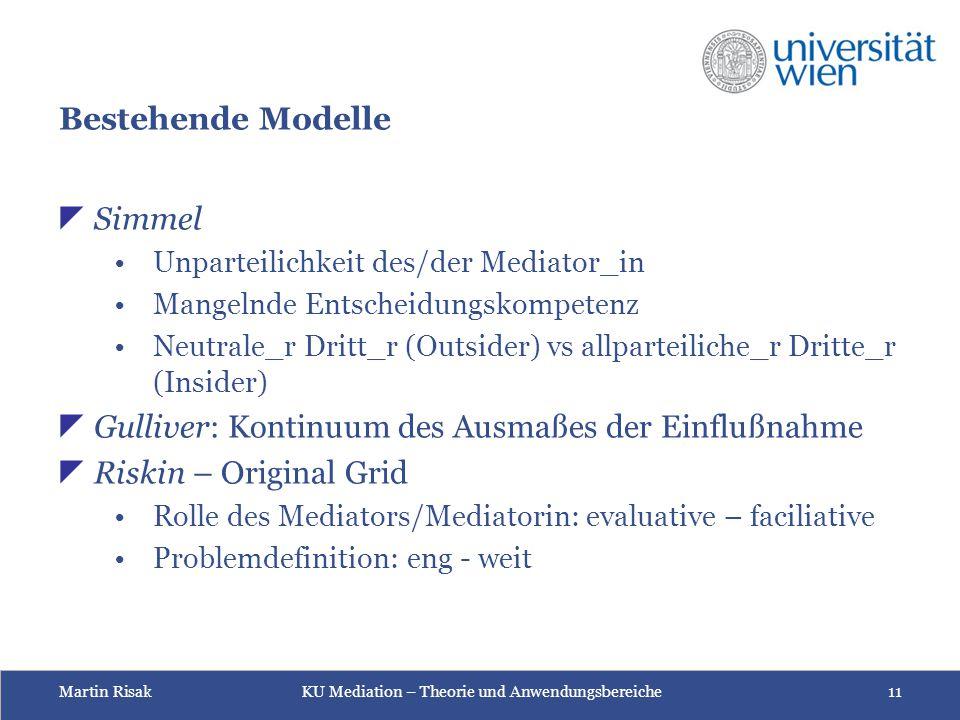 Martin Risak KU Mediation – Theorie und Anwendungsbereiche 11 Bestehende Modelle  Simmel Unparteilichkeit des/der Mediator_in Mangelnde Entscheidungs