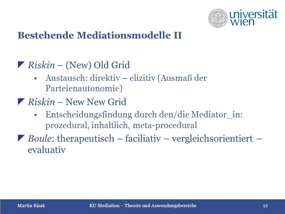 Martin Risak KU Mediation – Theorie und Anwendungsbereiche 12 Bestehende Mediationsmodelle II  Riskin – (New) Old Grid Austausch: direktiv – elizitiv