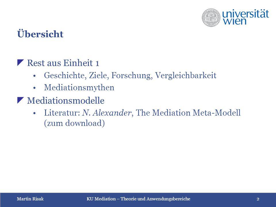 Martin Risak KU Mediation – Theorie und Anwendungsbereiche 2 Übersicht  Rest aus Einheit 1 Geschichte, Ziele, Forschung, Vergleichbarkeit Mediationsm