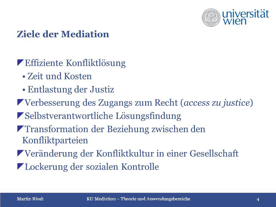Martin Risak KU Mediation – Theorie und Anwendungsbereiche 4 Ziele der Mediation  Effiziente Konfliktlösung Zeit und Kosten Entlastung der Justiz  V
