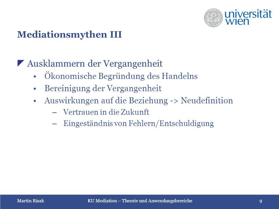 Martin Risak KU Mediation – Theorie und Anwendungsbereiche 9 Mediationsmythen III  Ausklammern der Vergangenheit Ökonomische Begründung des Handelns