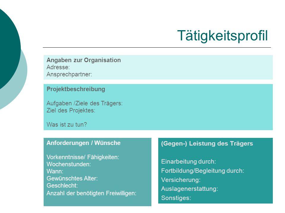 Tätigkeitsprofil Angaben zur Organisation Adresse: Ansprechpartner: Projektbeschreibung Aufgaben /Ziele des Trägers: Ziel des Projektes: Was ist zu tu