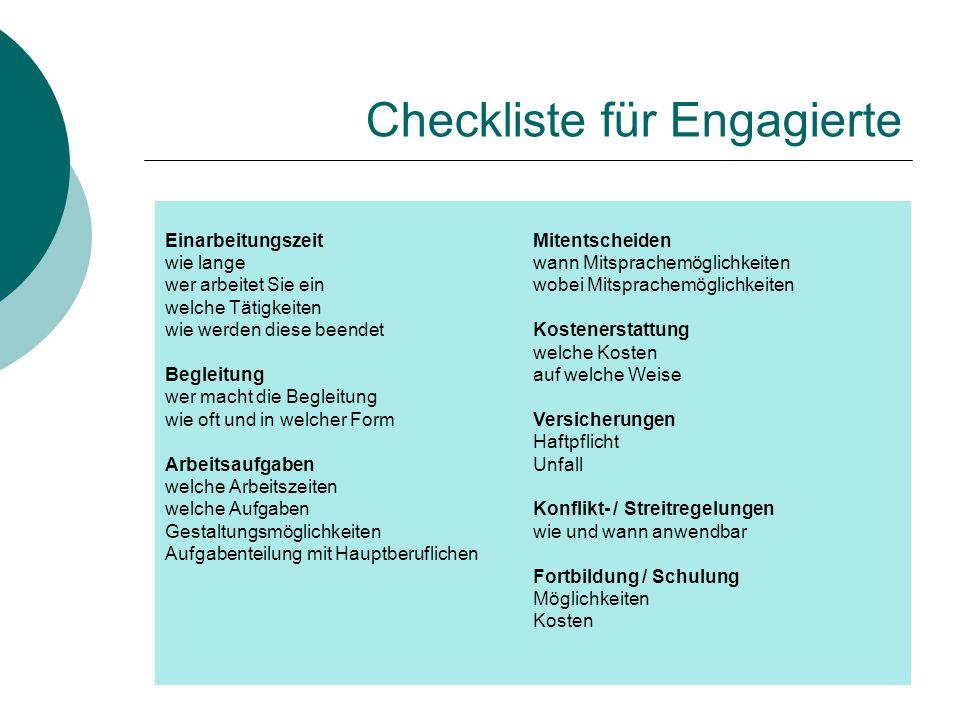Checkliste für Engagierte Einarbeitungszeit wie lange wer arbeitet Sie ein welche Tätigkeiten wie werden diese beendet Begleitung wer macht die Beglei