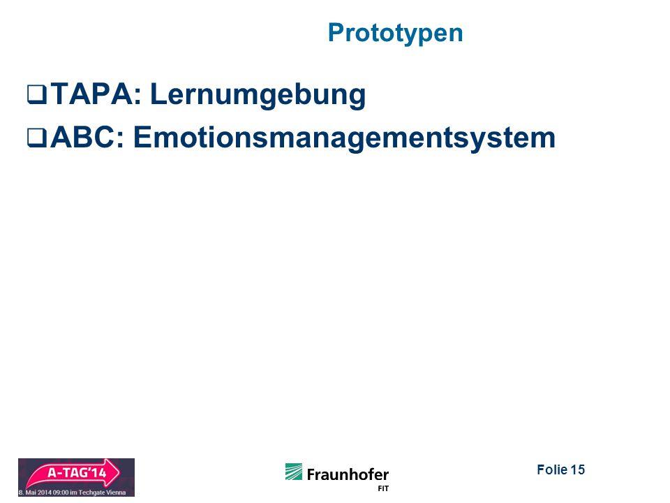 Folie 15 Prototypen  TAPA: Lernumgebung  ABC: Emotionsmanagementsystem