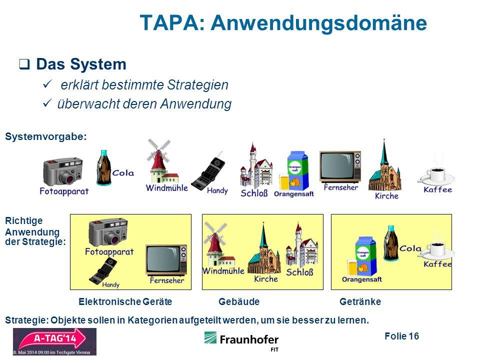 Folie 16 TAPA: Anwendungsdomäne  Das System erklärt bestimmte Strategien überwacht deren Anwendung Elektronische GeräteGebäudeGetränke Strategie: Objekte sollen in Kategorien aufgeteilt werden, um sie besser zu lernen.