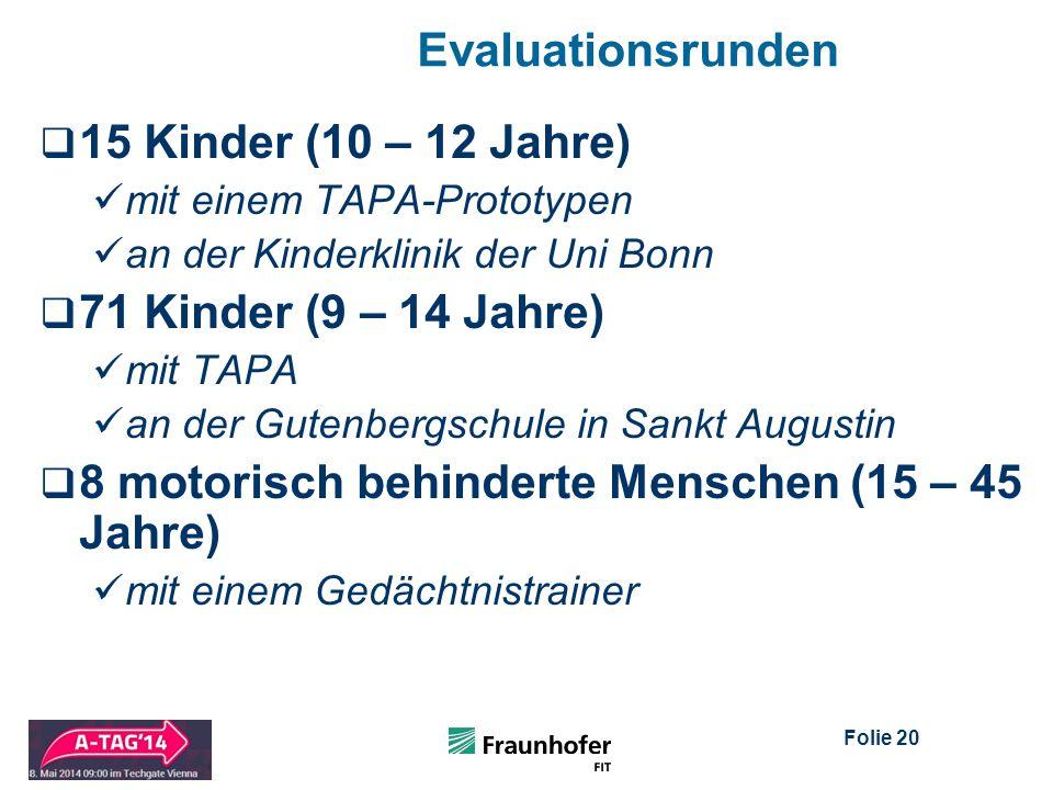 Folie 20 Evaluationsrunden  15 Kinder (10 – 12 Jahre) mit einem TAPA-Prototypen an der Kinderklinik der Uni Bonn  71 Kinder (9 – 14 Jahre) mit TAPA an der Gutenbergschule in Sankt Augustin  8 motorisch behinderte Menschen (15 – 45 Jahre) mit einem Gedächtnistrainer