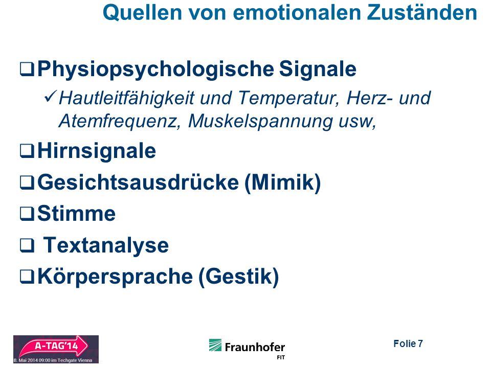 Folie 7 Quellen von emotionalen Zuständen  Physiopsychologische Signale Hautleitfähigkeit und Temperatur, Herz- und Atemfrequenz, Muskelspannung usw,  Hirnsignale  Gesichtsausdrücke (Mimik)  Stimme  Textanalyse  Körpersprache (Gestik)