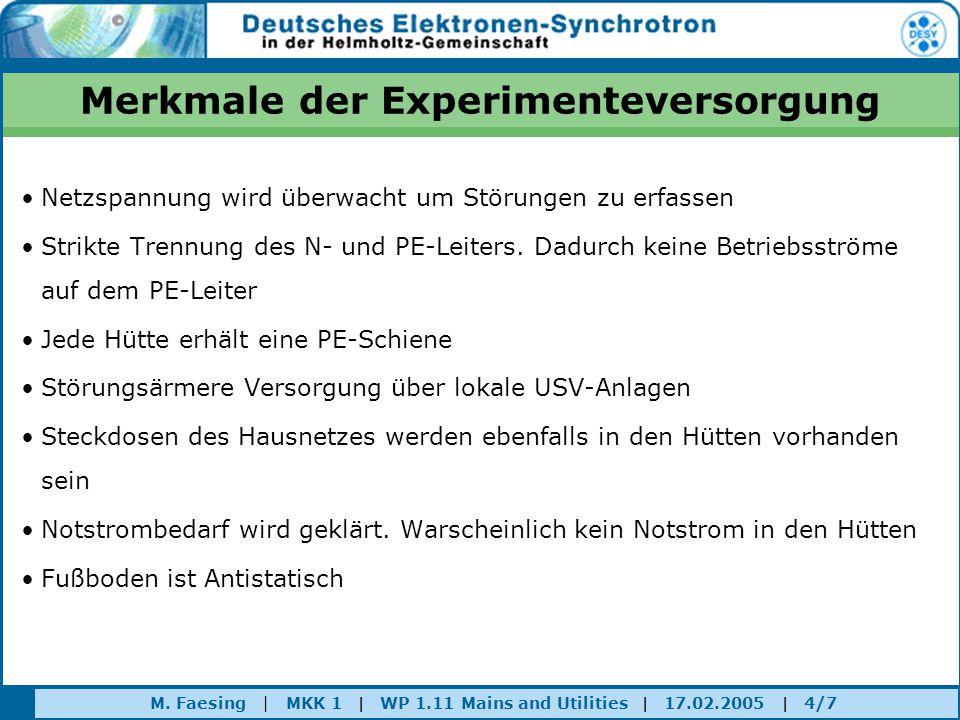 M. Faesing | MKK 1 | WP 1.11 Mains and Utilities | 17.02.2005 | 4/7 Merkmale der Experimenteversorgung Netzspannung wird überwacht um Störungen zu erf