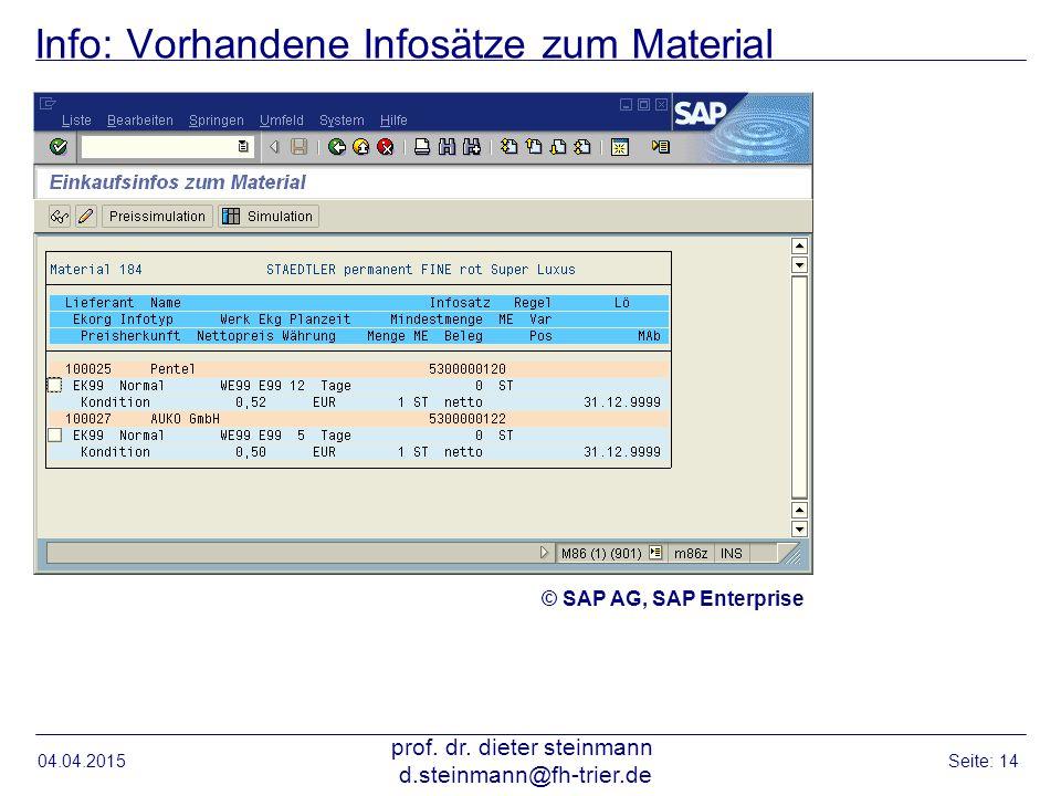 Info: Vorhandene Infosätze zum Material 04.04.2015 prof. dr. dieter steinmann d.steinmann@fh-trier.de Seite: 14 © SAP AG, SAP Enterprise