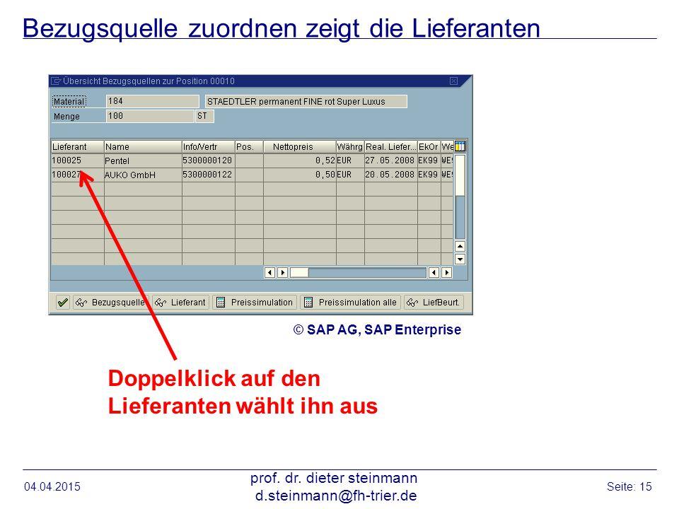 Bezugsquelle zuordnen zeigt die Lieferanten 04.04.2015 prof. dr. dieter steinmann d.steinmann@fh-trier.de Seite: 15 Doppelklick auf den Lieferanten wä