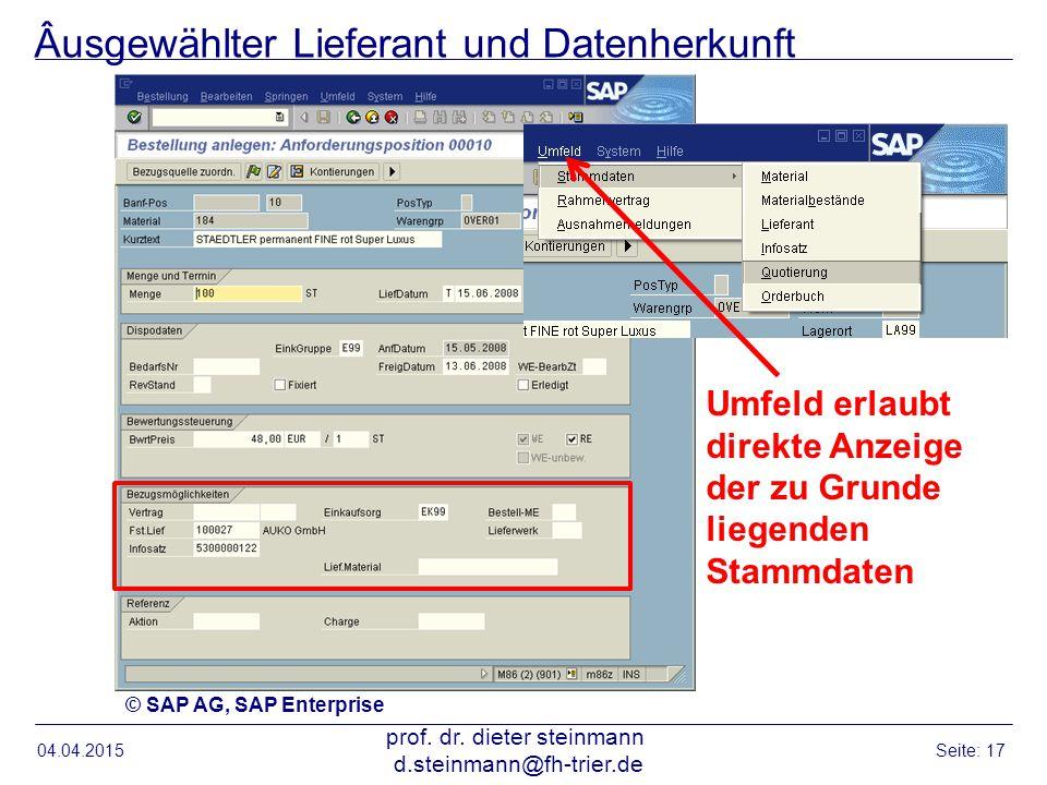 Âusgewählter Lieferant und Datenherkunft 04.04.2015 prof. dr. dieter steinmann d.steinmann@fh-trier.de Seite: 17 Umfeld erlaubt direkte Anzeige der zu