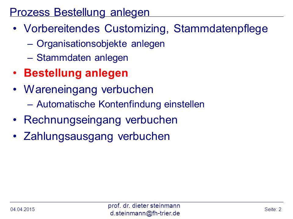 Einstieg Bestellung anlegen 04.04.2015 prof.dr.