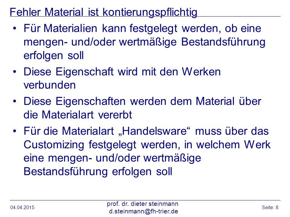 Fehler Material ist kontierungspflichtig Für Materialien kann festgelegt werden, ob eine mengen- und/oder wertmäßige Bestandsführung erfolgen soll Die