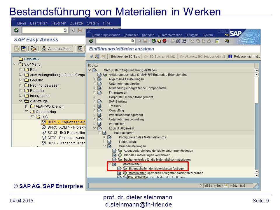 Bestandsführung von Materialien in Werken 04.04.2015 prof. dr. dieter steinmann d.steinmann@fh-trier.de Seite: 9 © SAP AG, SAP Enterprise