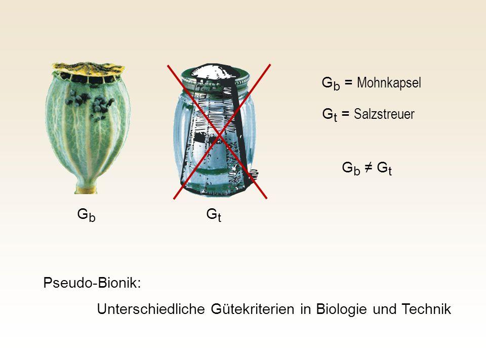 G b = Mohnkapsel G t = Salzstreuer Pseudo-Bionik: Unterschiedliche Gütekriterien in Biologie und Technik GbGb GtGt G b ≠ G t