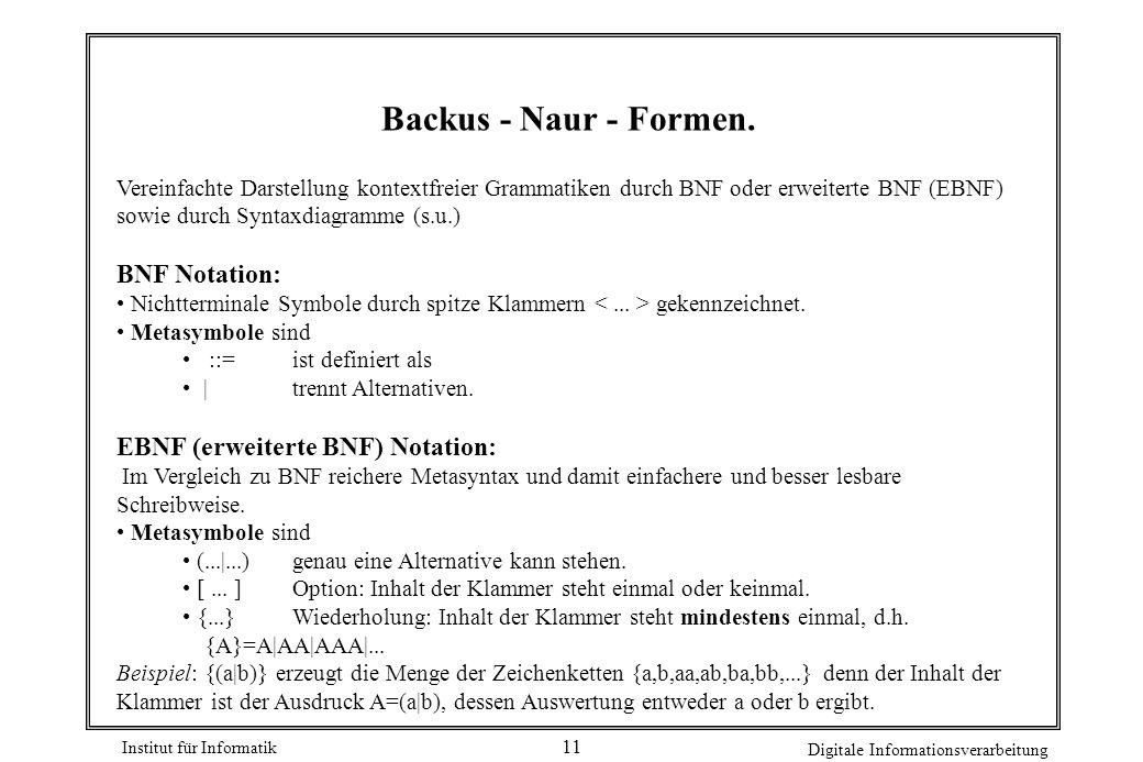 Institut für Informatik Digitale Informationsverarbeitung 11 Backus - Naur - Formen. Vereinfachte Darstellung kontextfreier Grammatiken durch BNF oder