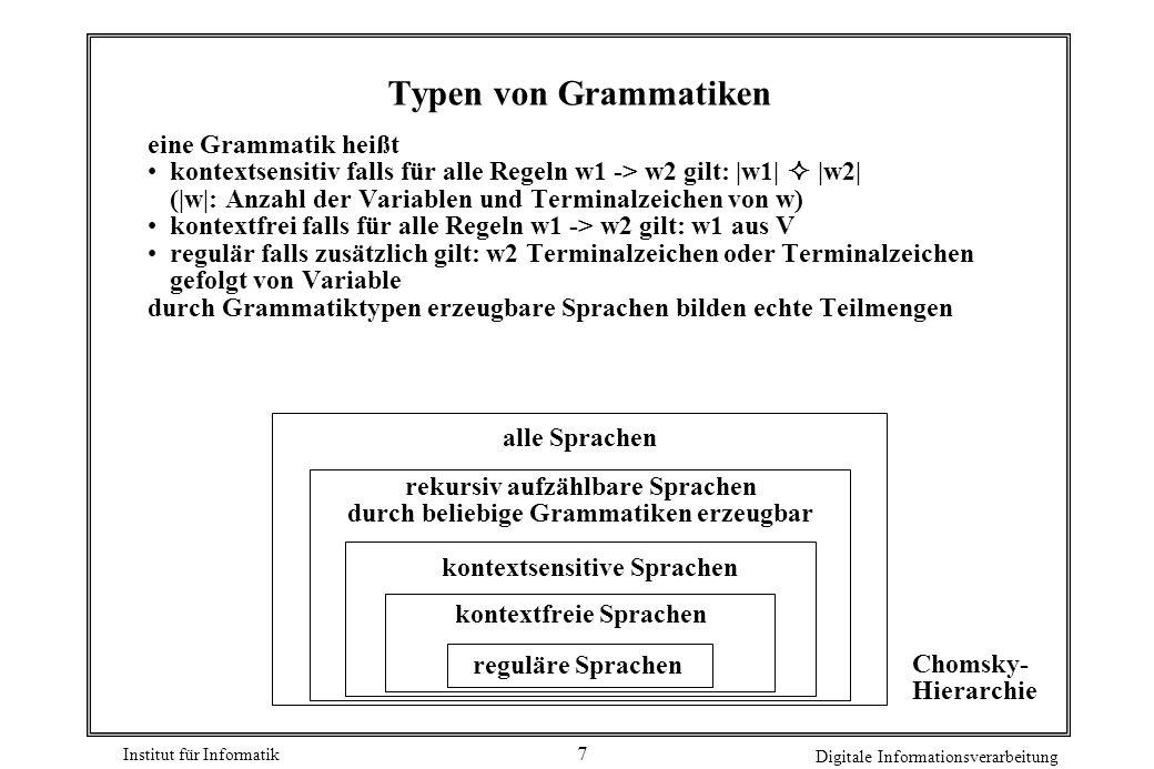 Institut für Informatik Digitale Informationsverarbeitung 7 Typen von Grammatiken eine Grammatik heißt kontextsensitiv falls für alle Regeln w1 -> w2 gilt:  w1    w2  ( w : Anzahl der Variablen und Terminalzeichen von w) kontextfrei falls für alle Regeln w1 -> w2 gilt: w1 aus V regulär falls zusätzlich gilt: w2 Terminalzeichen oder Terminalzeichen gefolgt von Variable durch Grammatiktypen erzeugbare Sprachen bilden echte Teilmengen reguläre Sprachen kontextfreie Sprachen kontextsensitive Sprachen alle Sprachen rekursiv aufzählbare Sprachen durch beliebige Grammatiken erzeugbar Chomsky- Hierarchie