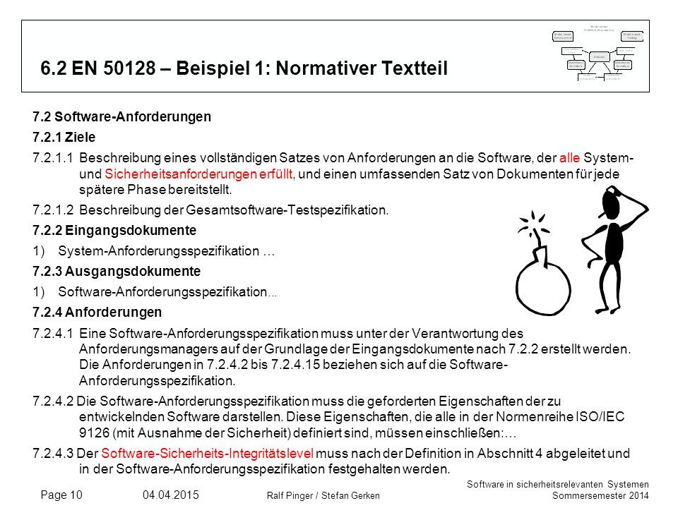 Software in sicherheitsrelevanten Systemen Sommersemester 2014 04.04.2015 Ralf Pinger / Stefan Gerken Page 10 6.2 EN 50128 – Beispiel 1: Normativer Te