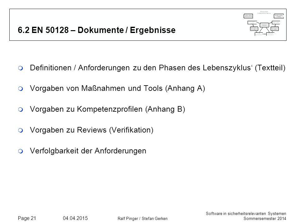 Software in sicherheitsrelevanten Systemen Sommersemester 2014 04.04.2015 Ralf Pinger / Stefan Gerken Page 21 6.2 EN 50128 – Dokumente / Ergebnisse m