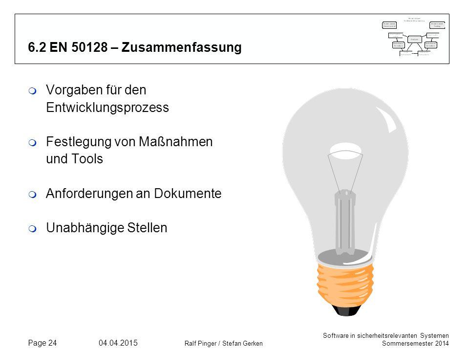 Software in sicherheitsrelevanten Systemen Sommersemester 2014 04.04.2015 Ralf Pinger / Stefan Gerken Page 24 6.2 EN 50128 – Zusammenfassung m Vorgabe