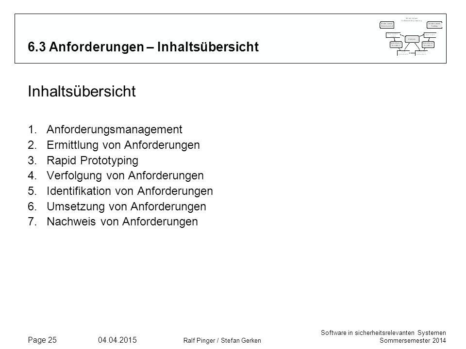 Software in sicherheitsrelevanten Systemen Sommersemester 2014 04.04.2015 Ralf Pinger / Stefan Gerken Page 25 6.3 Anforderungen – Inhaltsübersicht Inh