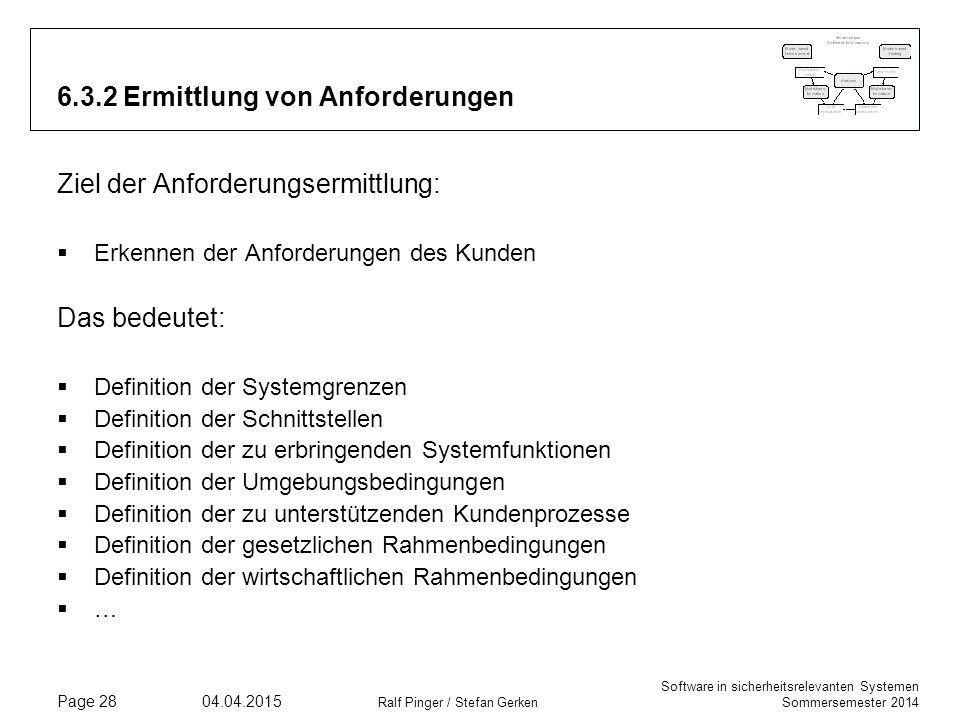 Software in sicherheitsrelevanten Systemen Sommersemester 2014 04.04.2015 Ralf Pinger / Stefan Gerken Page 28 6.3.2 Ermittlung von Anforderungen Ziel