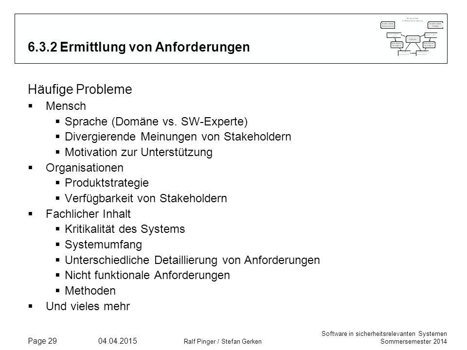 Software in sicherheitsrelevanten Systemen Sommersemester 2014 04.04.2015 Ralf Pinger / Stefan Gerken Page 29 6.3.2 Ermittlung von Anforderungen Häufi