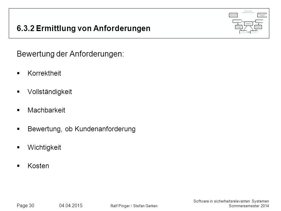 Software in sicherheitsrelevanten Systemen Sommersemester 2014 04.04.2015 Ralf Pinger / Stefan Gerken Page 30 6.3.2 Ermittlung von Anforderungen Bewer