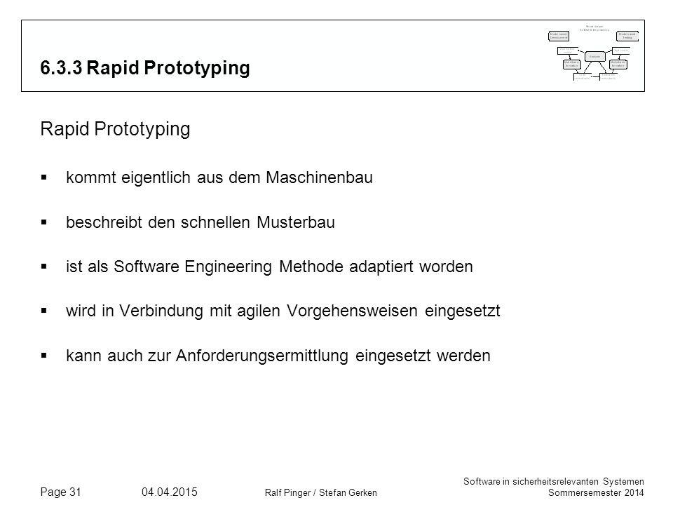 Software in sicherheitsrelevanten Systemen Sommersemester 2014 04.04.2015 Ralf Pinger / Stefan Gerken Page 31 6.3.3 Rapid Prototyping Rapid Prototypin