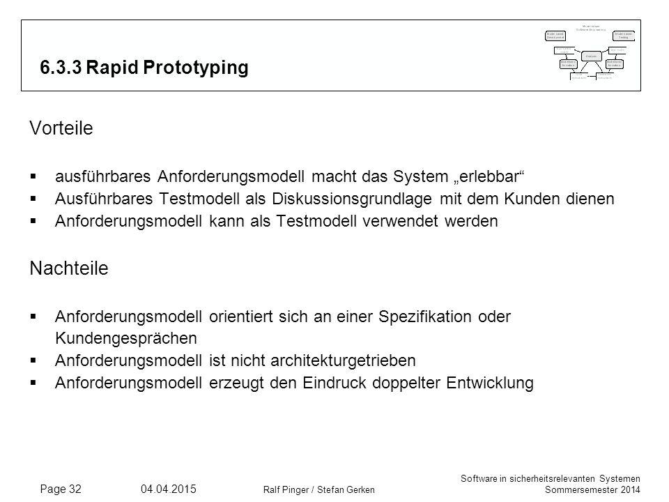 Software in sicherheitsrelevanten Systemen Sommersemester 2014 04.04.2015 Ralf Pinger / Stefan Gerken Page 32 6.3.3 Rapid Prototyping Vorteile  ausfü