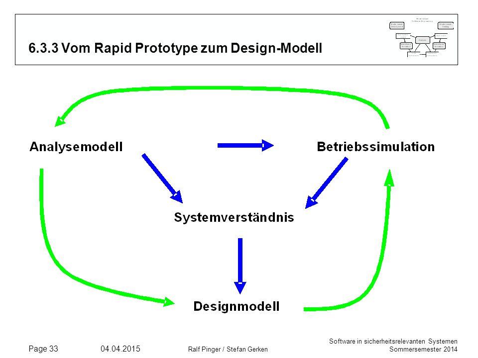 Software in sicherheitsrelevanten Systemen Sommersemester 2014 04.04.2015 Ralf Pinger / Stefan Gerken Page 33 6.3.3 Vom Rapid Prototype zum Design-Mod