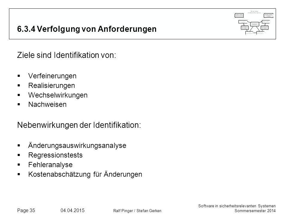 Software in sicherheitsrelevanten Systemen Sommersemester 2014 04.04.2015 Ralf Pinger / Stefan Gerken Page 35 6.3.4 Verfolgung von Anforderungen Ziele