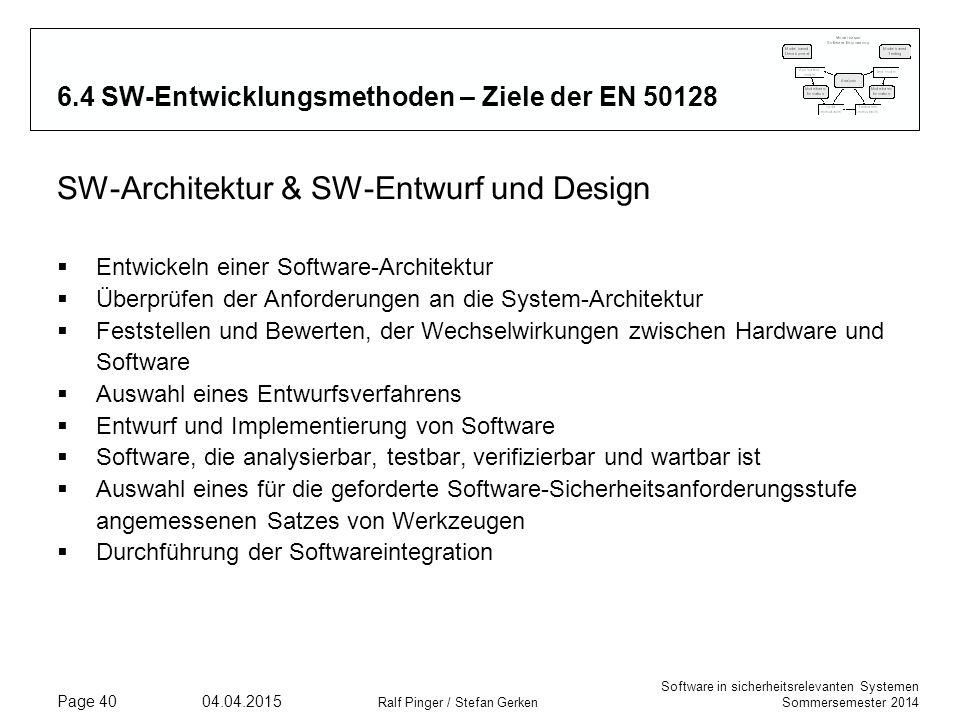 Software in sicherheitsrelevanten Systemen Sommersemester 2014 04.04.2015 Ralf Pinger / Stefan Gerken Page 40 6.4 SW-Entwicklungsmethoden – Ziele der