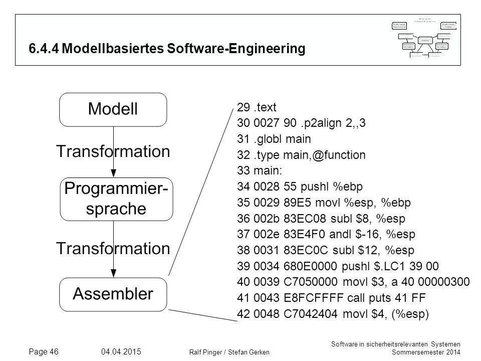 Software in sicherheitsrelevanten Systemen Sommersemester 2014 04.04.2015 Ralf Pinger / Stefan Gerken Page 46 6.4.4 Modellbasiertes Software-Engineeri