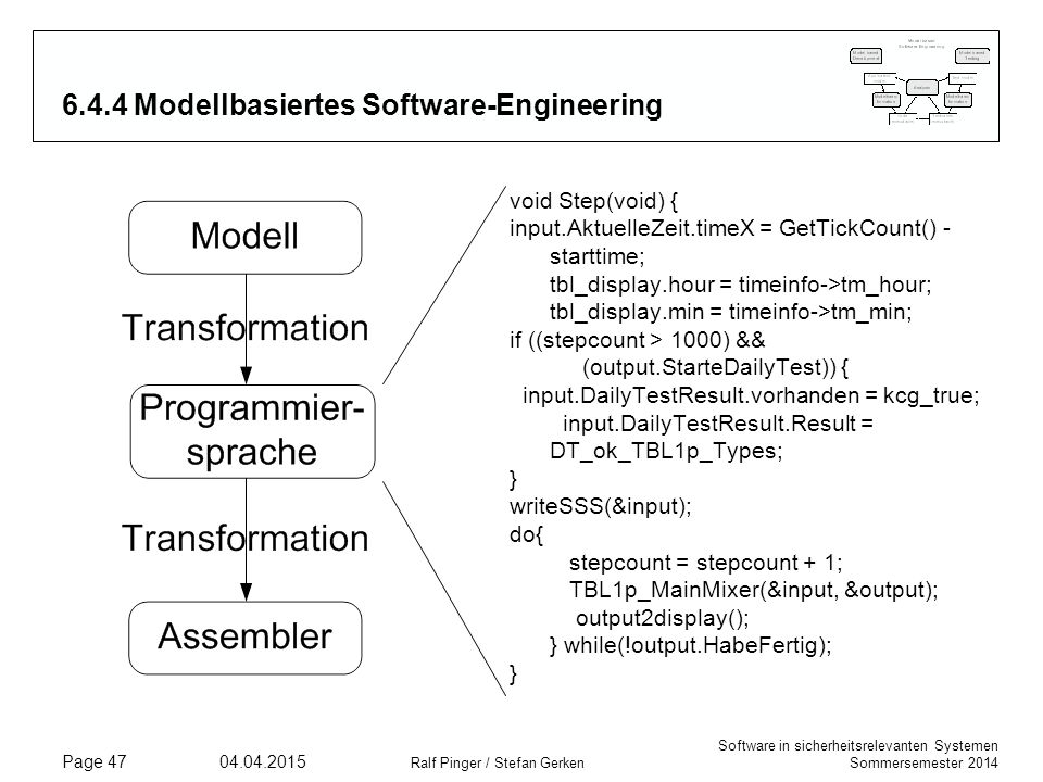 Software in sicherheitsrelevanten Systemen Sommersemester 2014 04.04.2015 Ralf Pinger / Stefan Gerken Page 47 6.4.4 Modellbasiertes Software-Engineeri