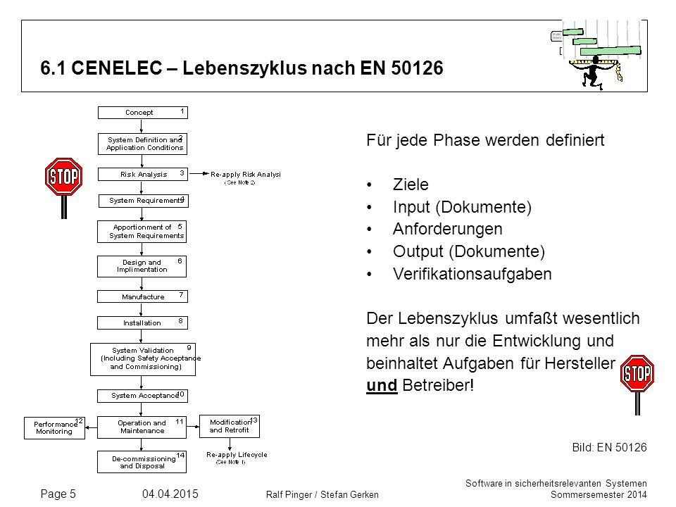 Software in sicherheitsrelevanten Systemen Sommersemester 2014 04.04.2015 Ralf Pinger / Stefan Gerken Page 5 6.1 CENELEC – Lebenszyklus nach EN 50126