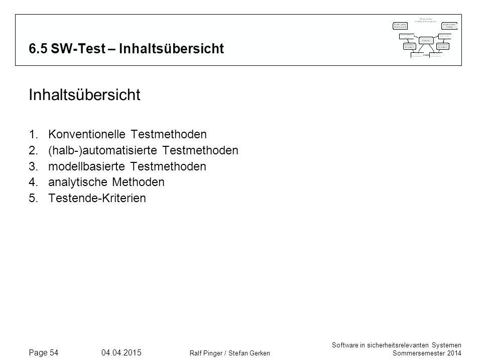 Software in sicherheitsrelevanten Systemen Sommersemester 2014 04.04.2015 Ralf Pinger / Stefan Gerken Page 54 6.5 SW-Test – Inhaltsübersicht Inhaltsüb
