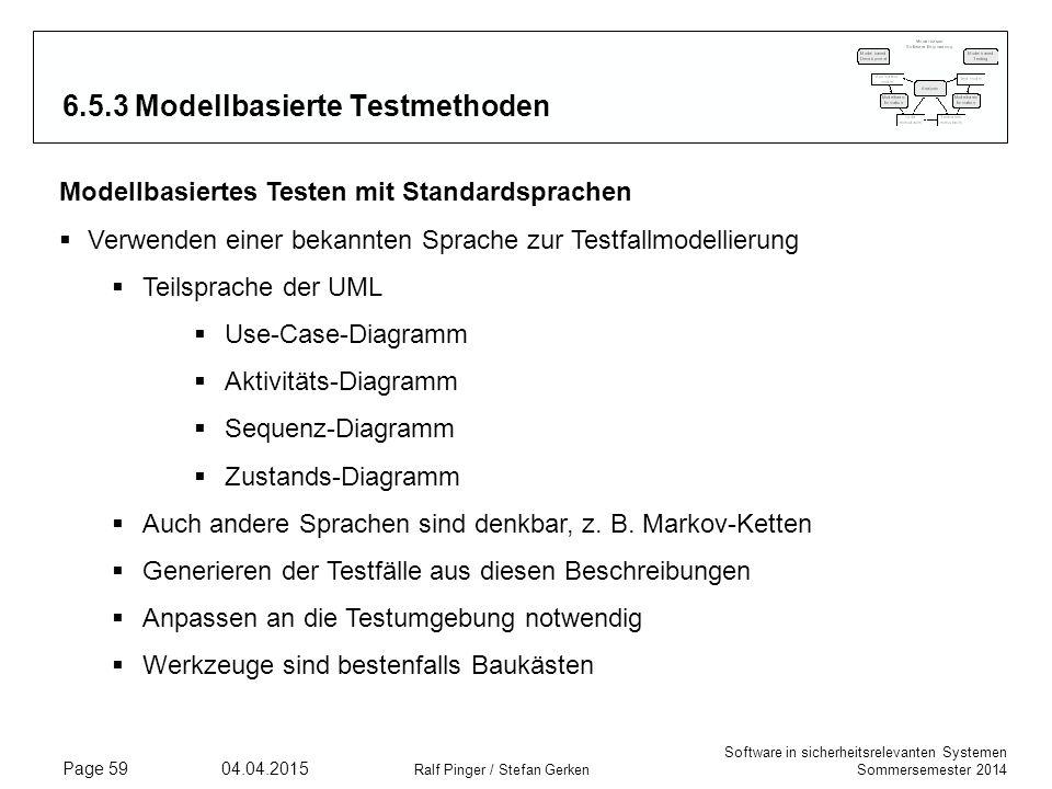 Software in sicherheitsrelevanten Systemen Sommersemester 2014 04.04.2015 Ralf Pinger / Stefan Gerken Page 59 6.5.3 Modellbasierte Testmethoden Modell