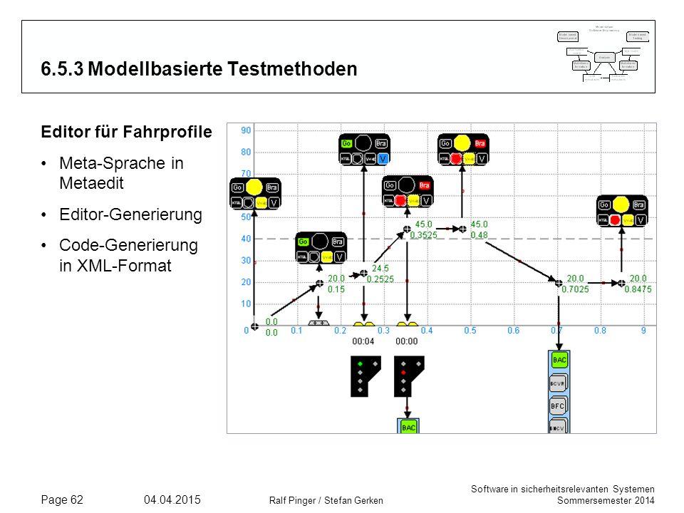 Software in sicherheitsrelevanten Systemen Sommersemester 2014 04.04.2015 Ralf Pinger / Stefan Gerken Page 62 6.5.3 Modellbasierte Testmethoden Editor