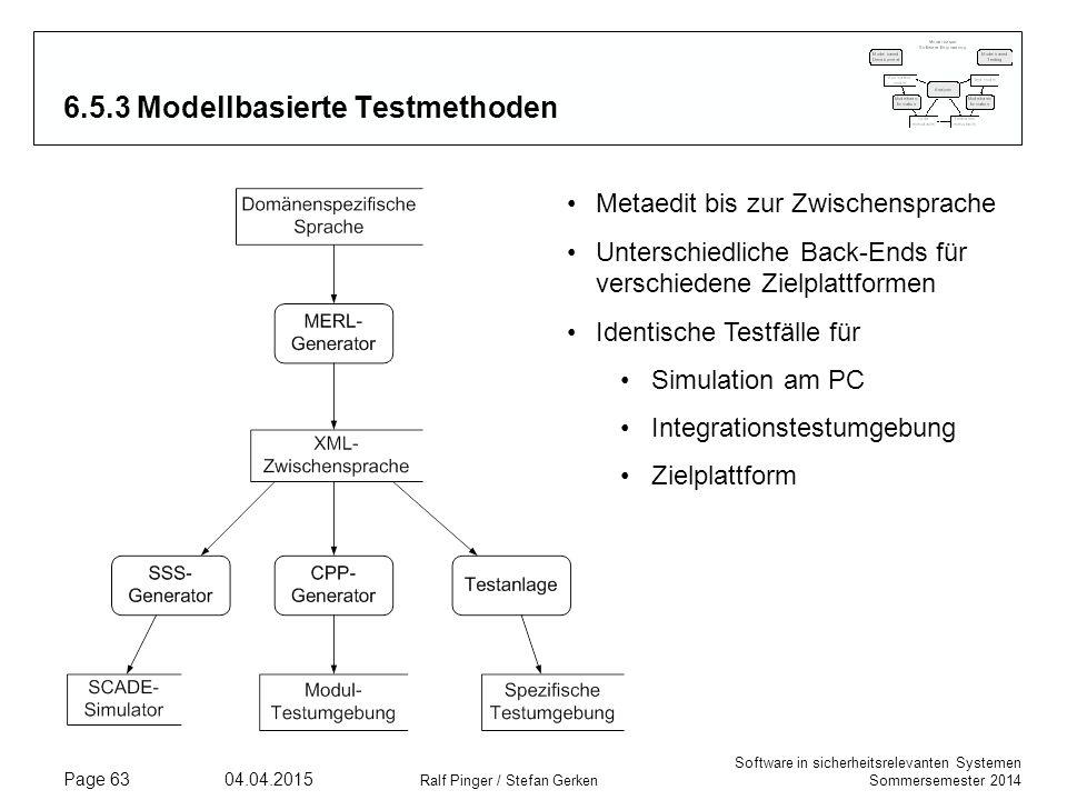 Software in sicherheitsrelevanten Systemen Sommersemester 2014 04.04.2015 Ralf Pinger / Stefan Gerken Page 63 6.5.3 Modellbasierte Testmethoden Metaed