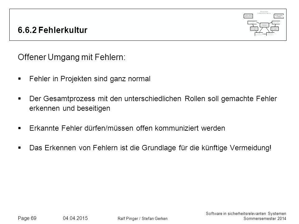 Software in sicherheitsrelevanten Systemen Sommersemester 2014 04.04.2015 Ralf Pinger / Stefan Gerken Page 69 6.6.2 Fehlerkultur Offener Umgang mit Fe